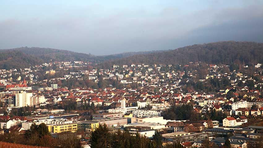 Blick auf die schöne Stadt Lörrach